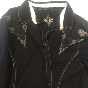 MENS ROAR BUTTON UP BLK SILKIE CUFFS XL EUC